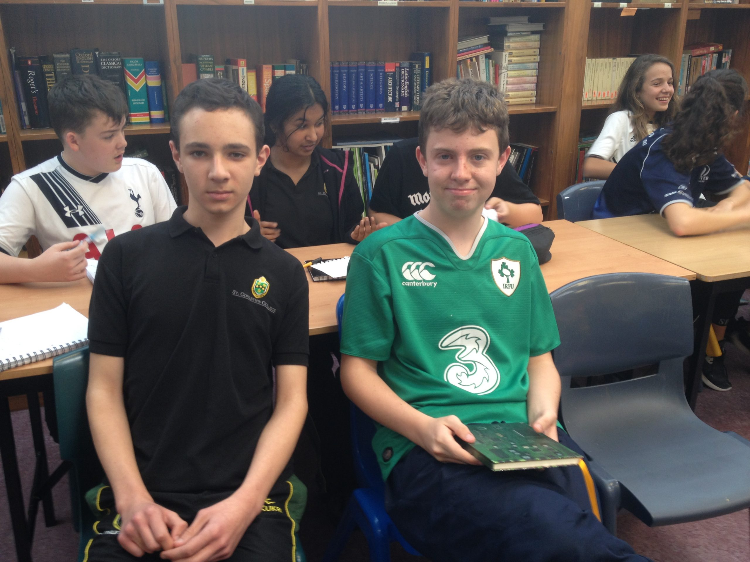 Conal with Oisin Power after winning a school debate