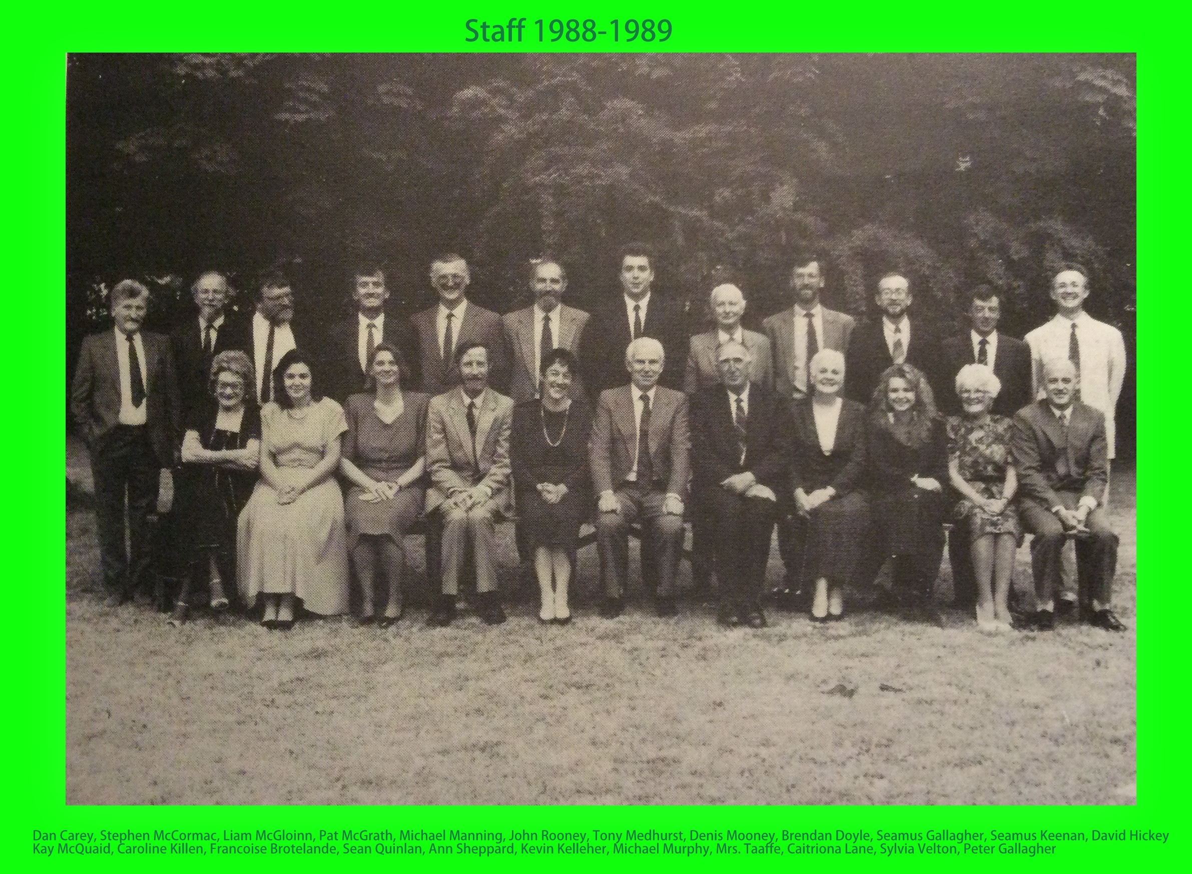 Staff 1988-1989 with names